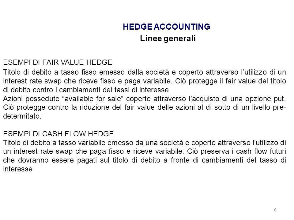 6 HEDGE ACCOUNTING Linee generali ESEMPI DI FAIR VALUE HEDGE Titolo di debito a tasso fisso emesso dalla società e coperto attraverso lutilizzo di un