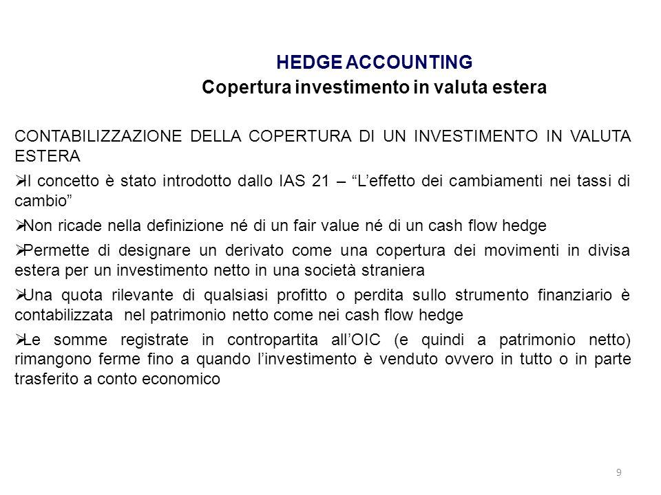 9 HEDGE ACCOUNTING Copertura investimento in valuta estera CONTABILIZZAZIONE DELLA COPERTURA DI UN INVESTIMENTO IN VALUTA ESTERA Il concetto è stato i