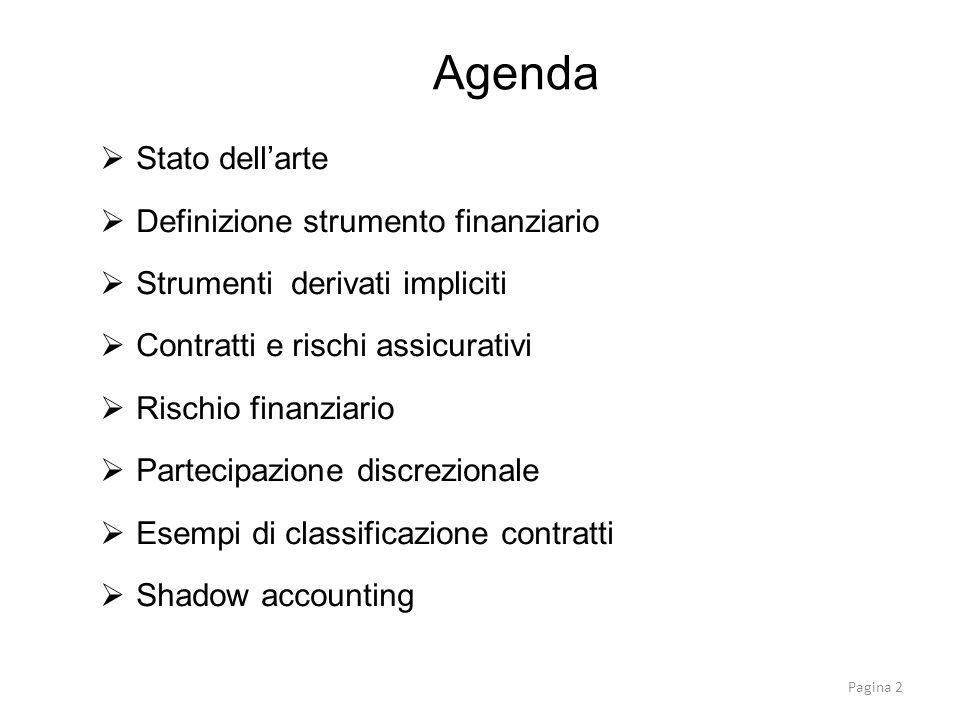 Stato dellarte Attualmente esistono tre principi che disciplinano gli strumenti finanziari –IAS 32 Strumenti finanziari: presentazione –IAS 39 Strumenti finanziari rilevazione e misurazione –IFRS 7 Strumenti finanziari: informativa A seguito crisi: - 2008 intervento su riclassificazione strumenti finanziari (amendment to IAS 39) - IFRS 9 (progetto in tre fasi): completata solo la prima (non omologata).