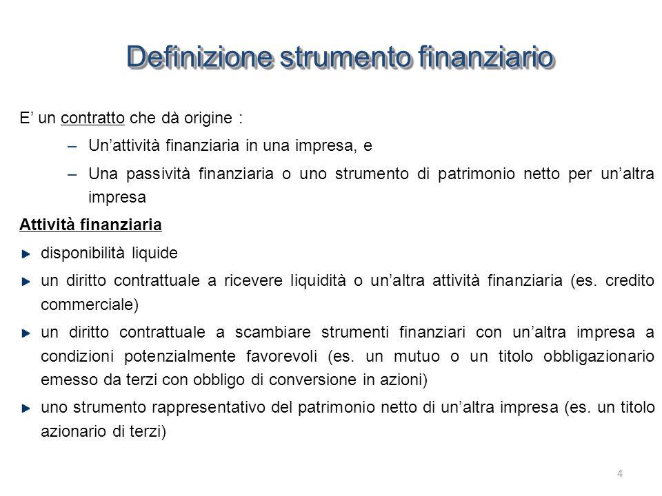 Definizione strumento finanziario Passività finanziaria Qualsiasi obbligazione contrattuale a: –consegnare liquidità o altre attività finanziarie (es.
