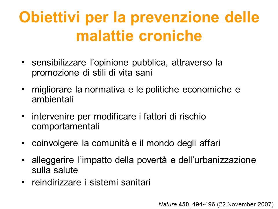 Obiettivi per la prevenzione delle malattie croniche sensibilizzare lopinione pubblica, attraverso la promozione di stili di vita sani migliorare la n
