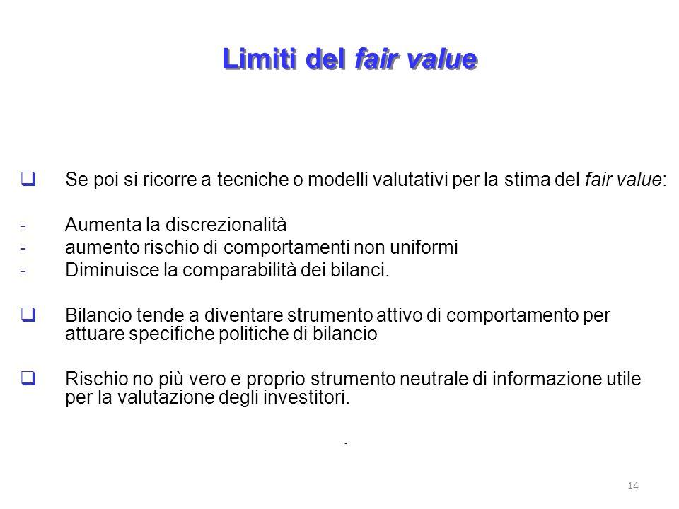 Limiti del fair value Se poi si ricorre a tecniche o modelli valutativi per la stima del fair value: -Aumenta la discrezionalità -aumento rischio di c