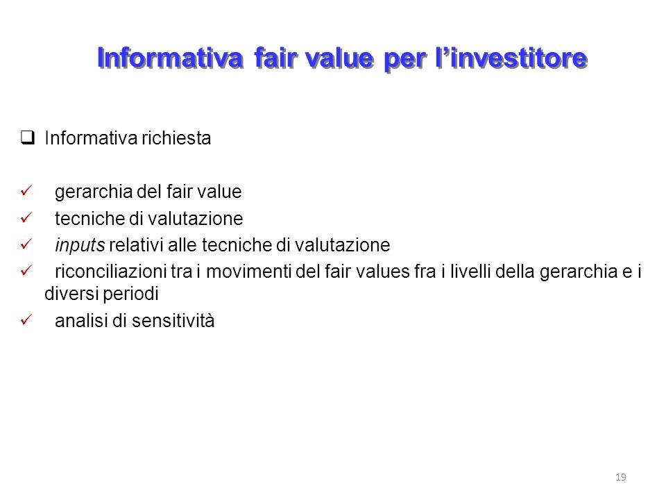 Informativa fair value per linvestitore Informativa richiesta gerarchia del fair value tecniche di valutazione inputs relativi alle tecniche di valuta