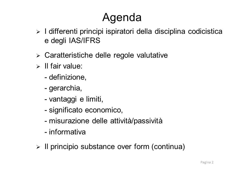 I differenti principi ispiratori della disciplina codicistica e degli IAS/IFRS Caratteristiche delle regole valutative Il fair value: - definizione, -