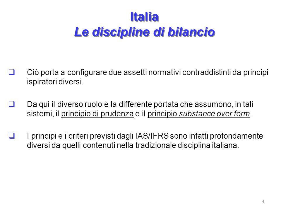 Italia Le discipline di bilancio Ciò porta a configurare due assetti normativi contraddistinti da principi ispiratori diversi. Da qui il diverso ruolo