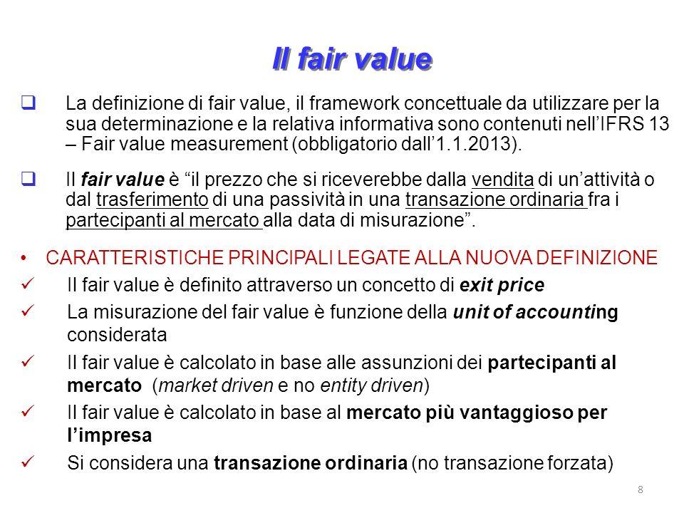 Il fair value La definizione di fair value, il framework concettuale da utilizzare per la sua determinazione e la relativa informativa sono contenuti