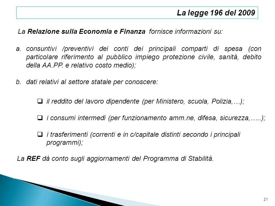 La legge 196 del 2009 La Relazione sulla Economia e Finanza fornisce informazioni su: a.consuntivi /preventivi dei conti dei principali comparti di sp