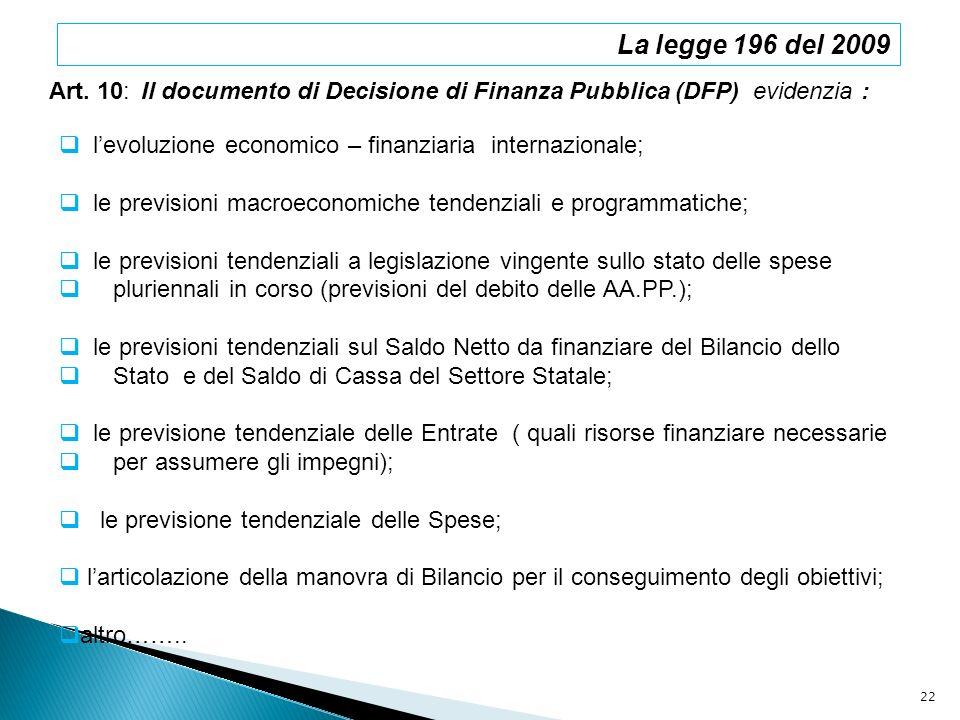 Art. 10: Il documento di Decisione di Finanza Pubblica (DFP) evidenzia : levoluzione economico – finanziaria internazionale; le previsioni macroeconom