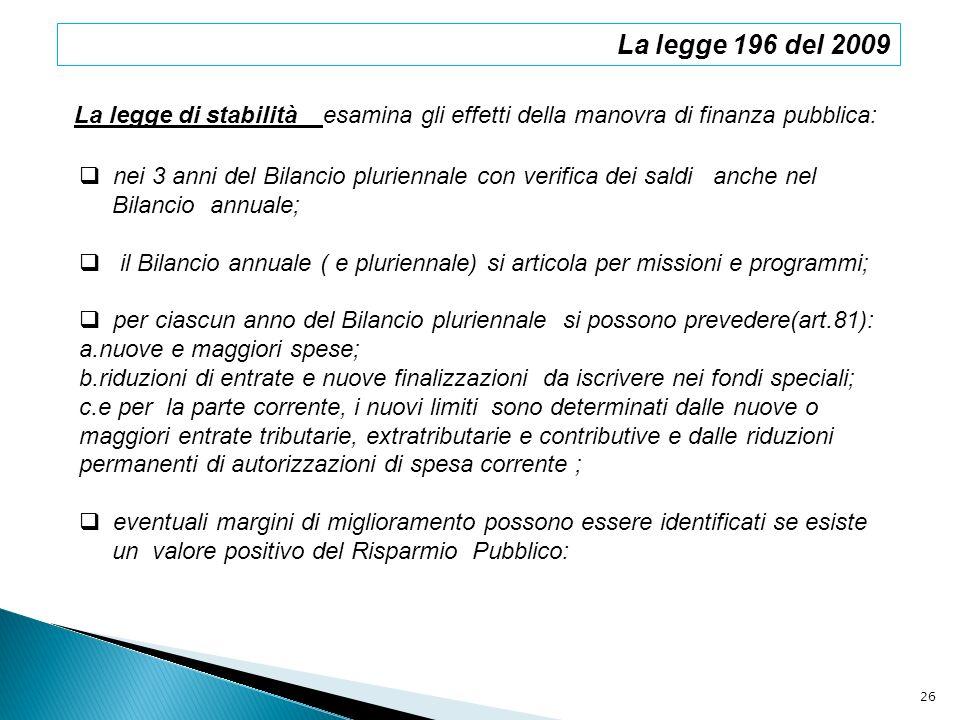 La legge 196 del 2009 La legge di stabilità esamina gli effetti della manovra di finanza pubblica: nei 3 anni del Bilancio pluriennale con verifica de