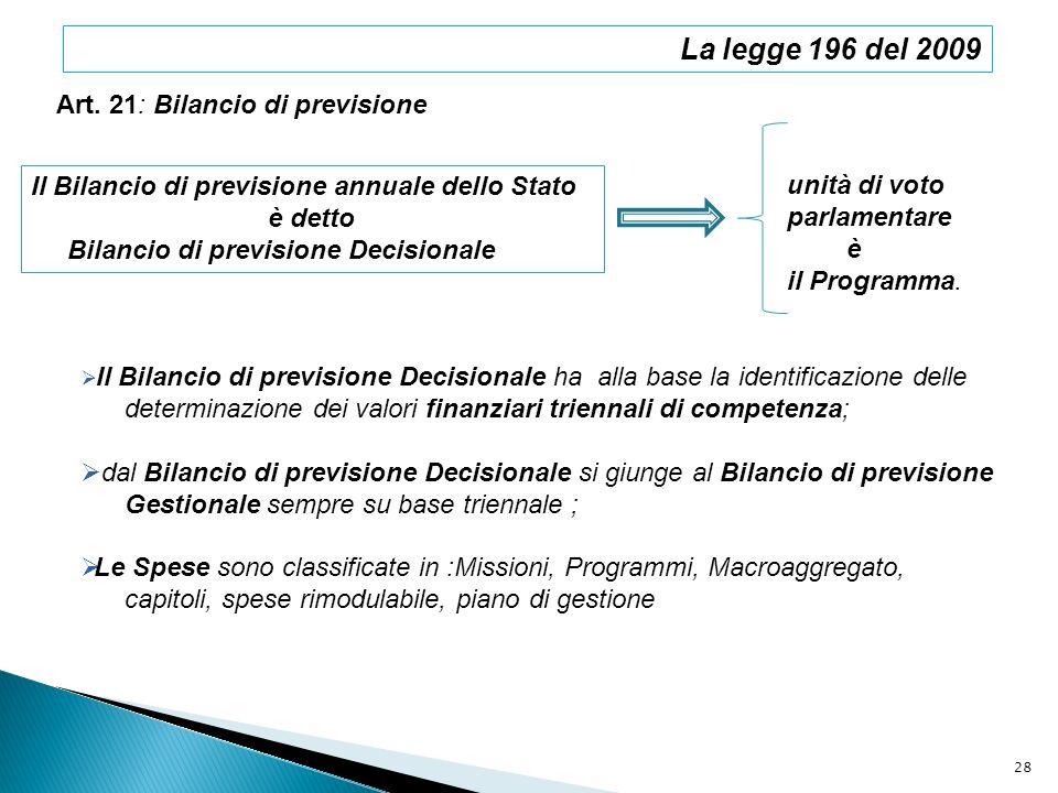 La legge 196 del 2009 Art. 21: Bilancio di previsione Il Bilancio di previsione annuale dello Stato è detto Bilancio di previsione Decisionale unità d