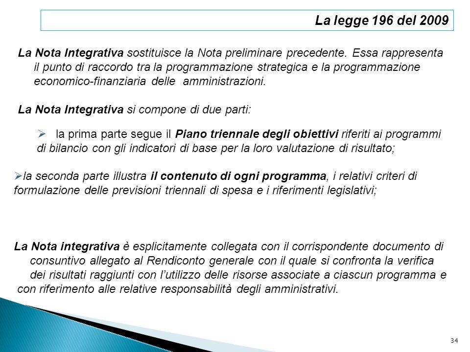 La legge 196 del 2009 La Nota Integrativa sostituisce la Nota preliminare precedente. Essa rappresenta il punto di raccordo tra la programmazione stra