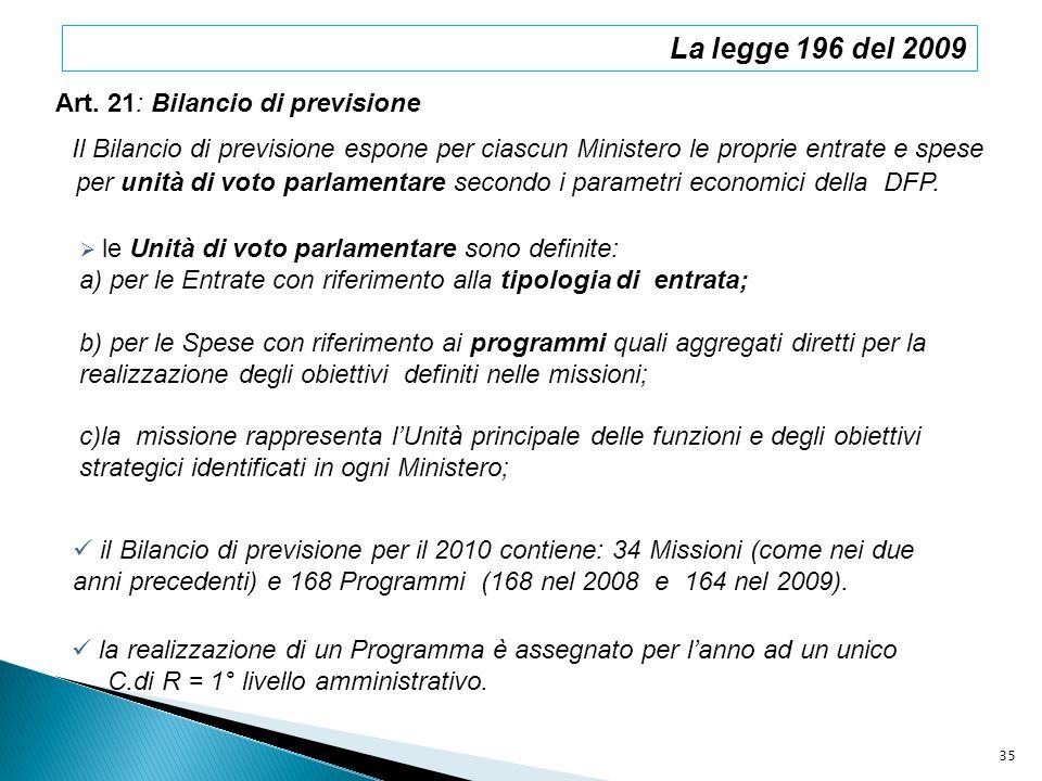 La legge 196 del 2009 Art. 21: Bilancio di previsione Il Bilancio di previsione espone per ciascun Ministero le proprie entrate e spese per unità di v