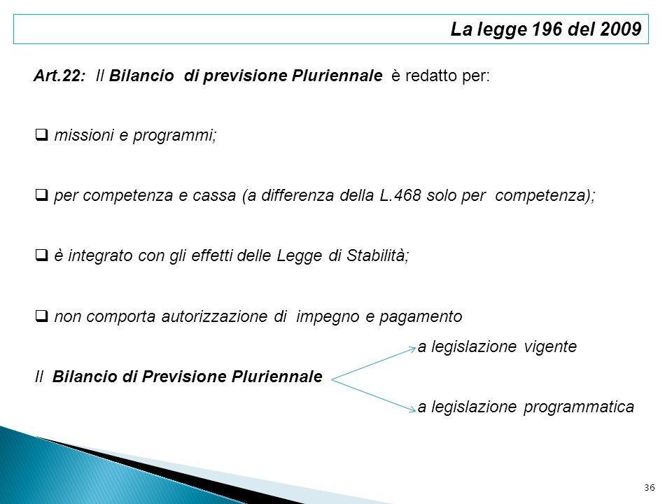 La legge 196 del 2009 Art.22: Il Bilancio di previsione Pluriennale è redatto per: missioni e programmi; per competenza e cassa (a differenza della L.
