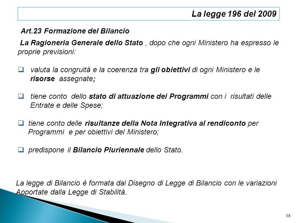 La legge 196 del 2009 La Ragioneria Generale dello Stato, dopo che ogni Ministero ha espresso le proprie previsioni: valuta la congruità e la coerenza