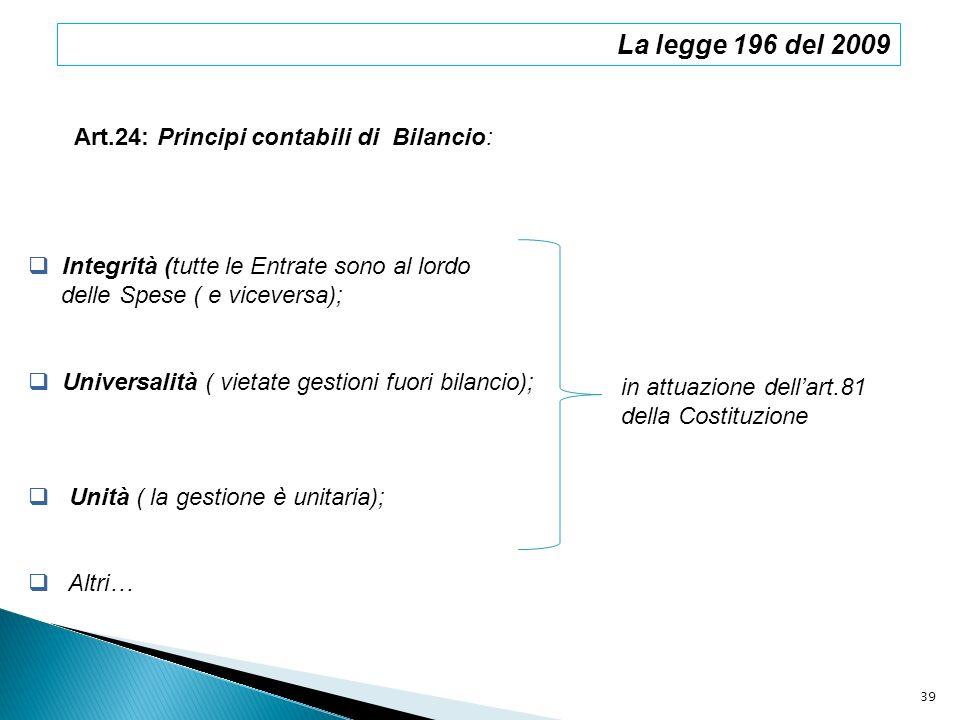 La legge 196 del 2009 Art.24: Principi contabili di Bilancio: Integrità (tutte le Entrate sono al lordo delle Spese ( e viceversa); Universalità ( vie