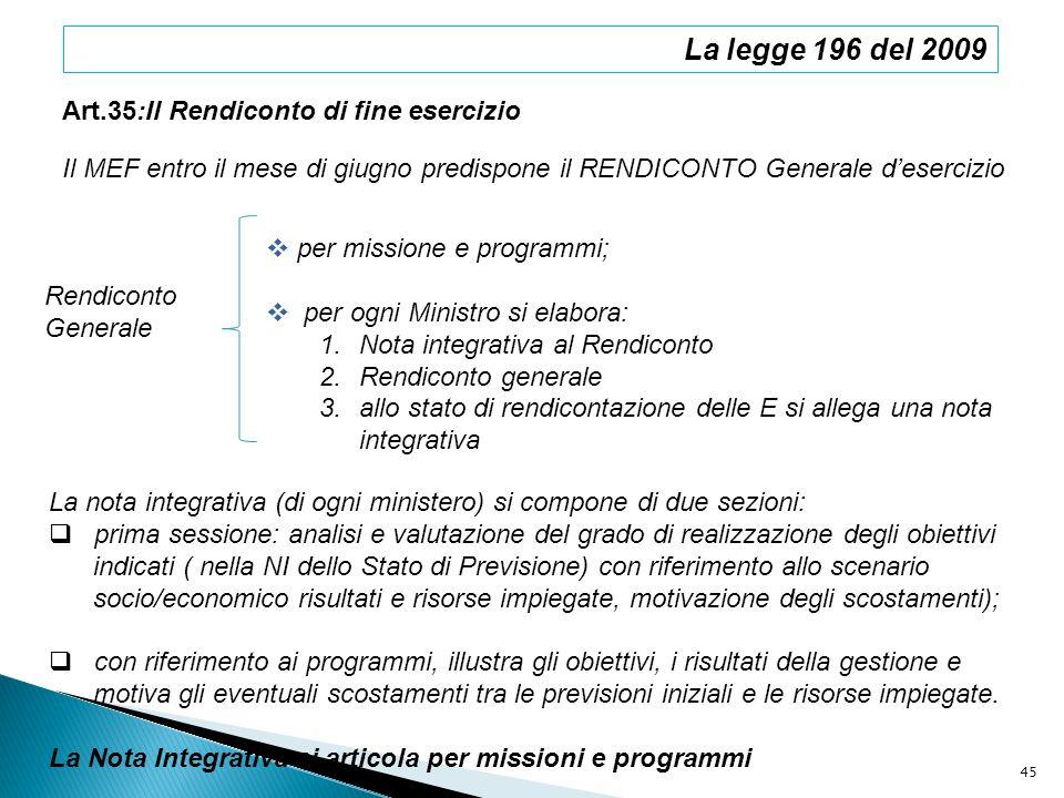 La legge 196 del 2009 Art.35:Il Rendiconto di fine esercizio Il MEF entro il mese di giugno predispone il RENDICONTO Generale desercizio Rendiconto Ge