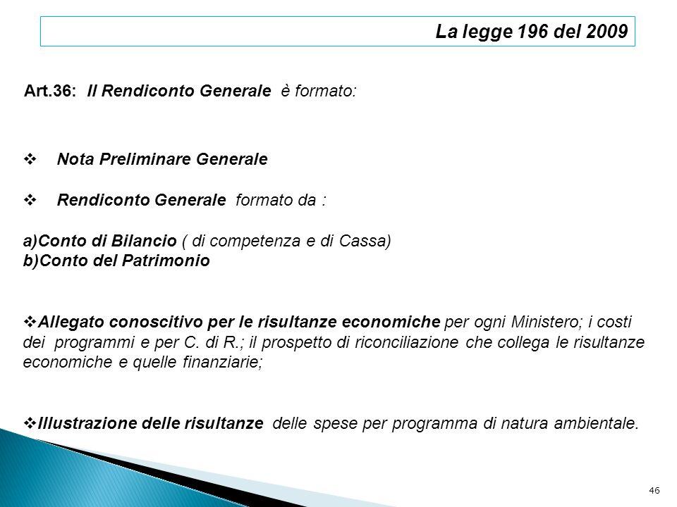 La legge 196 del 2009 Art.36: Il Rendiconto Generale è formato: Nota Preliminare Generale Rendiconto Generale formato da : a)Conto di Bilancio ( di co