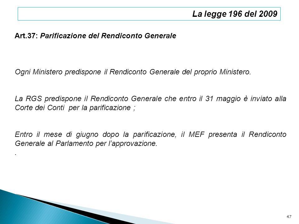 La legge 196 del 2009 Art.37: Parificazione del Rendiconto Generale Ogni Ministero predispone il Rendiconto Generale del proprio Ministero. La RGS pre