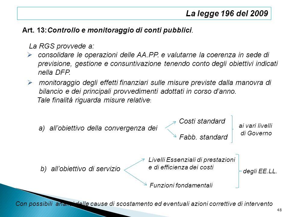 Art. 13:Controllo e monitoraggio di conti pubblici. La legge 196 del 2009 La RGS provvede a: consolidare le operazioni delle AA.PP. e valutarne la coe