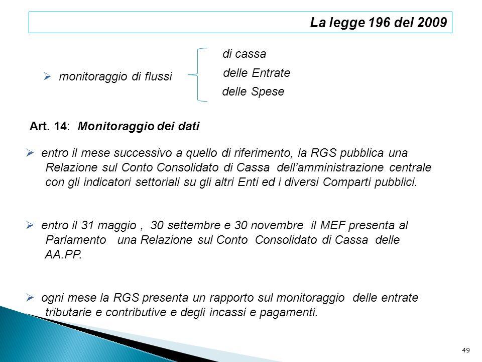 La legge 196 del 2009 monitoraggio di flussi di cassa delle Spese entro il mese successivo a quello di riferimento, la RGS pubblica una Relazione sul