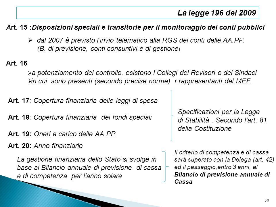La legge 196 del 2009 Art. 15 :Disposizioni speciali e transitorie per il monitoraggio dei conti pubblici dal 2007 è previsto linvio telematico alla R