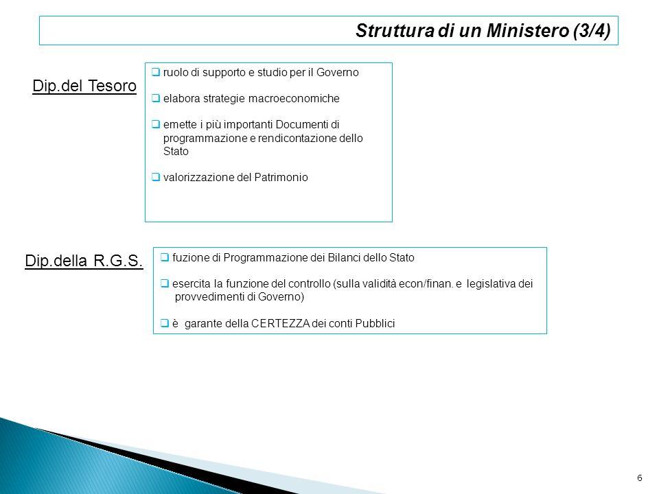 Dip.del Tesoro ruolo di supporto e studio per il Governo elabora strategie macroeconomiche emette i più importanti Documenti di programmazione e rendi