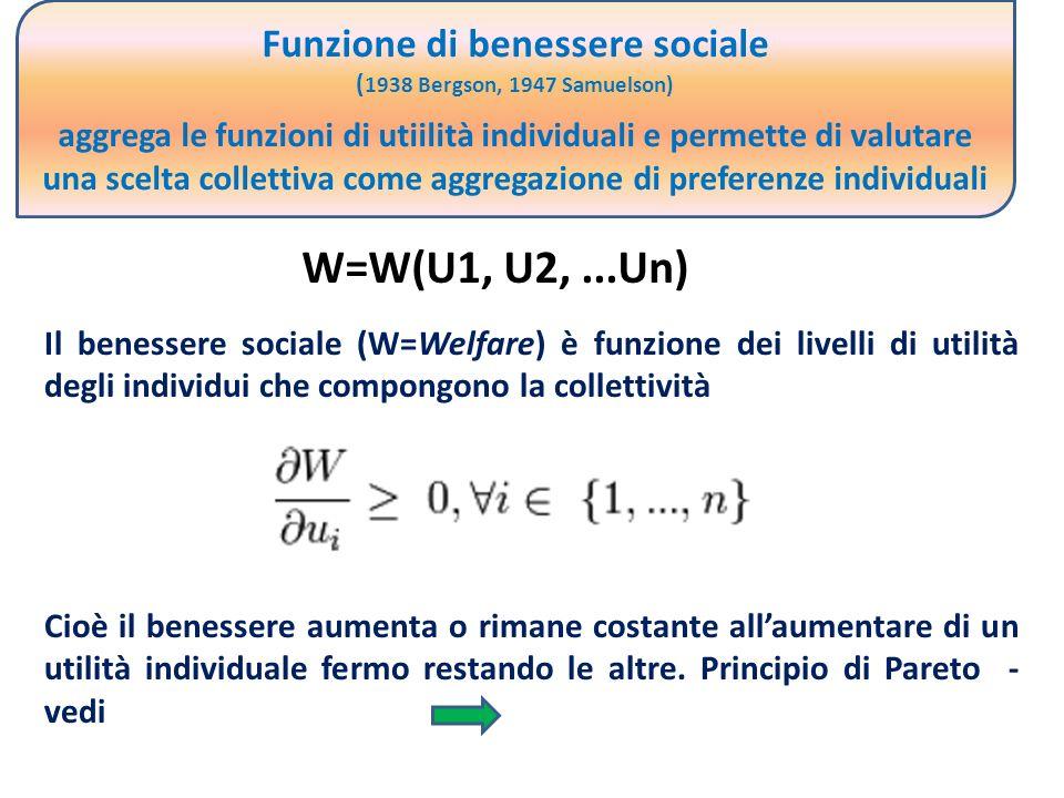 Funzione di benessere sociale ( 1938 Bergson, 1947 Samuelson) aggrega le funzioni di utiilità individuali e permette di valutare una scelta collettiva come aggregazione di preferenze individuali W=W(U1, U2,...Un) Il benessere sociale (W=Welfare) è funzione dei livelli di utilità degli individui che compongono la collettività Cioè il benessere aumenta o rimane costante allaumentare di un utilità individuale fermo restando le altre.