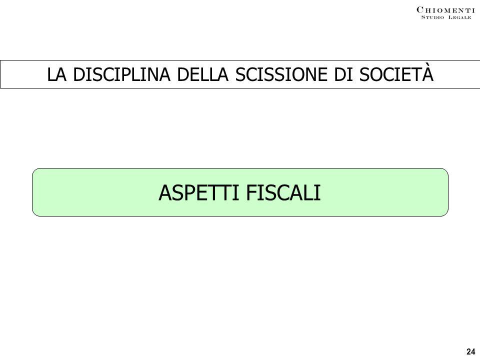 24 LA DISCIPLINA DELLA SCISSIONE DI SOCIETÀ ASPETTI FISCALI