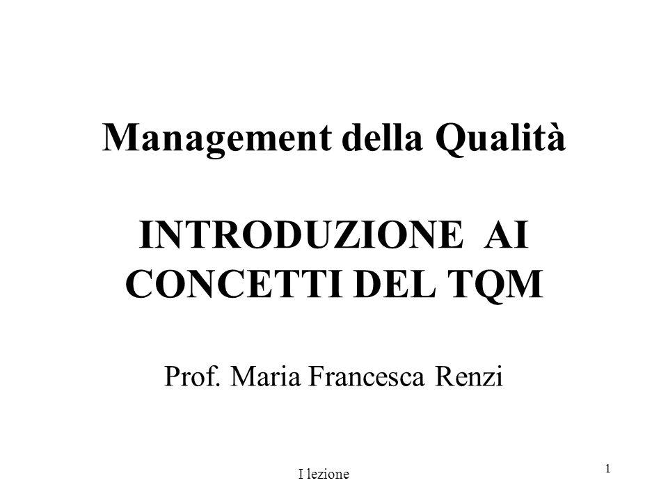 1 Management della Qualità INTRODUZIONE AI CONCETTI DEL TQM Prof. Maria Francesca Renzi I lezione