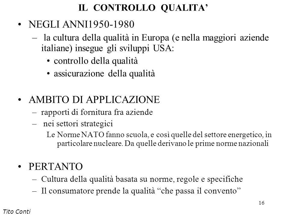 16 IL CONTROLLO QUALITA NEGLI ANNI1950-1980 – la cultura della qualità in Europa (e nella maggiori aziende italiane) insegue gli sviluppi USA: control