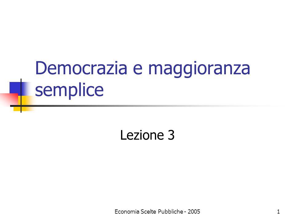 Economia Scelte Pubbliche - 20051 Democrazia e maggioranza semplice Lezione 3