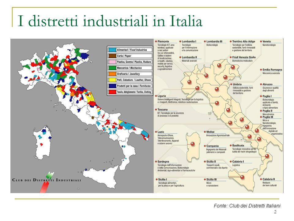 I distretti industriali in Italia Fonte: Club dei Distretti Italiani 2