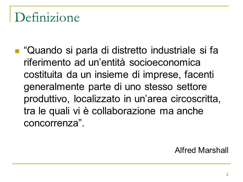 Definizione Quando si parla di distretto industriale si fa riferimento ad unentità socioeconomica costituita da un insieme di imprese, facenti general