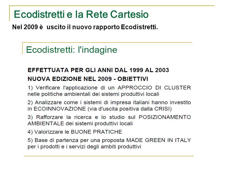 Ecodistretti e la Rete Cartesio Nel 2009 è uscito il nuovo rapporto Ecodistretti. Rassegna delle buone pratiche realizzate in materia di politiche amb