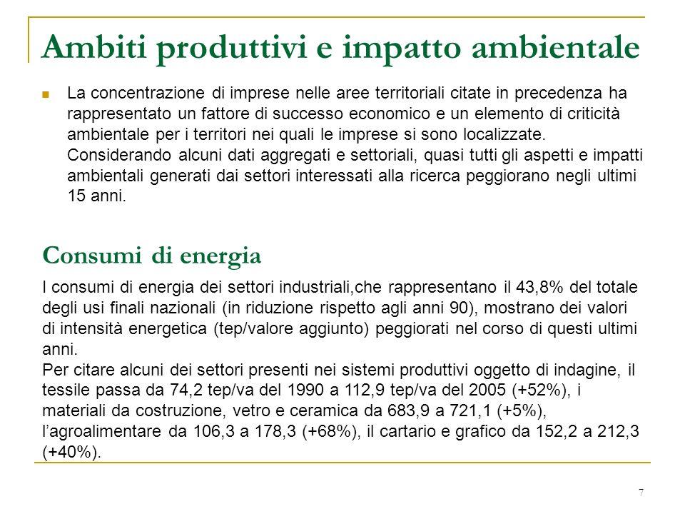 Ambiti produttivi e impatto ambientale La concentrazione di imprese nelle aree territoriali citate in precedenza ha rappresentato un fattore di succes
