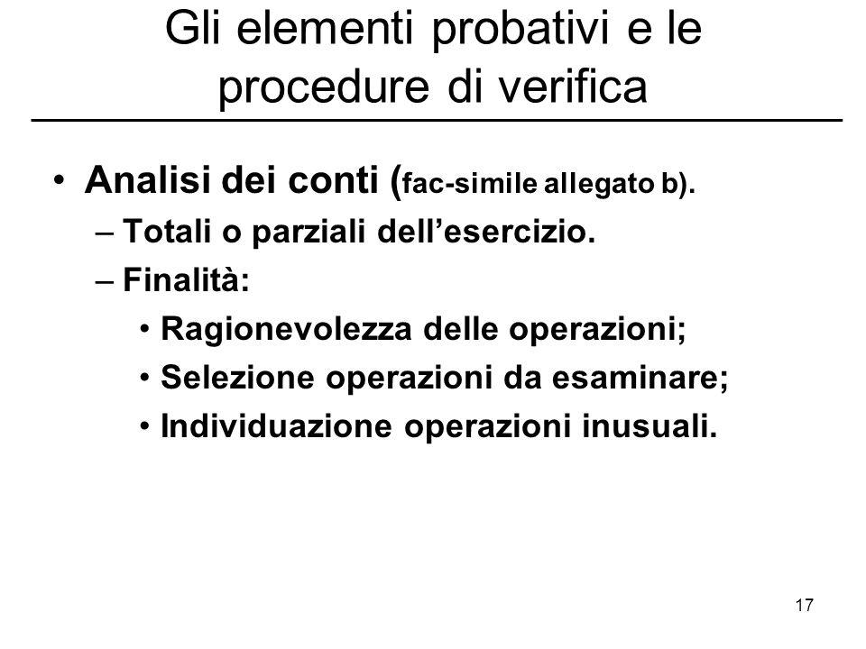 17 Gli elementi probativi e le procedure di verifica Analisi dei conti ( fac-simile allegato b). –Totali o parziali dellesercizio. –Finalità: Ragionev