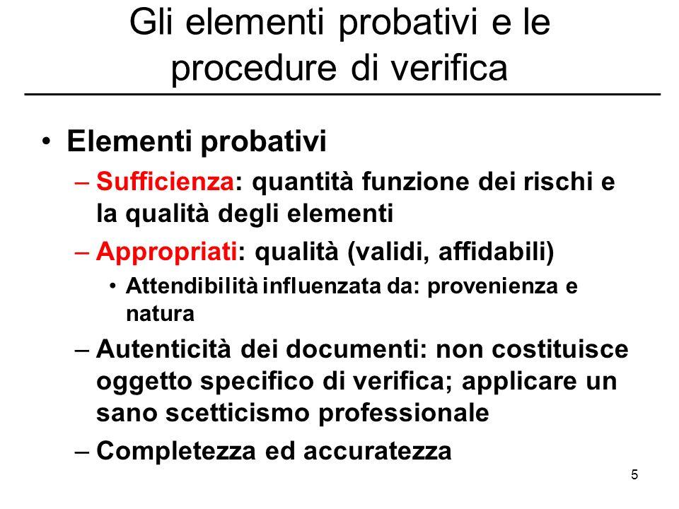 5 Gli elementi probativi e le procedure di verifica Elementi probativi –Sufficienza: quantità funzione dei rischi e la qualità degli elementi –Appropr