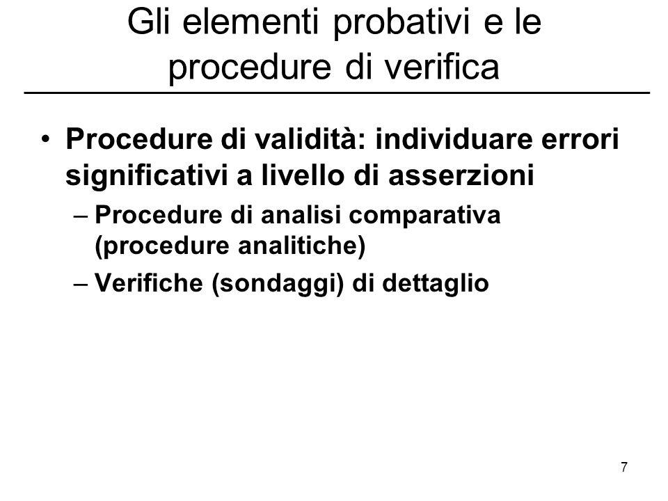 7 Gli elementi probativi e le procedure di verifica Procedure di validità: individuare errori significativi a livello di asserzioni –Procedure di anal