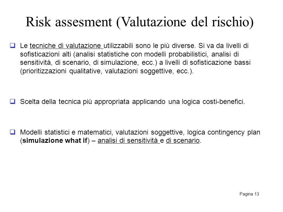 Risk assesment (Valutazione del rischio) Pagina 13 Le tecniche di valutazione utilizzabili sono le più diverse. Si va da livelli di sofisticazioni alt