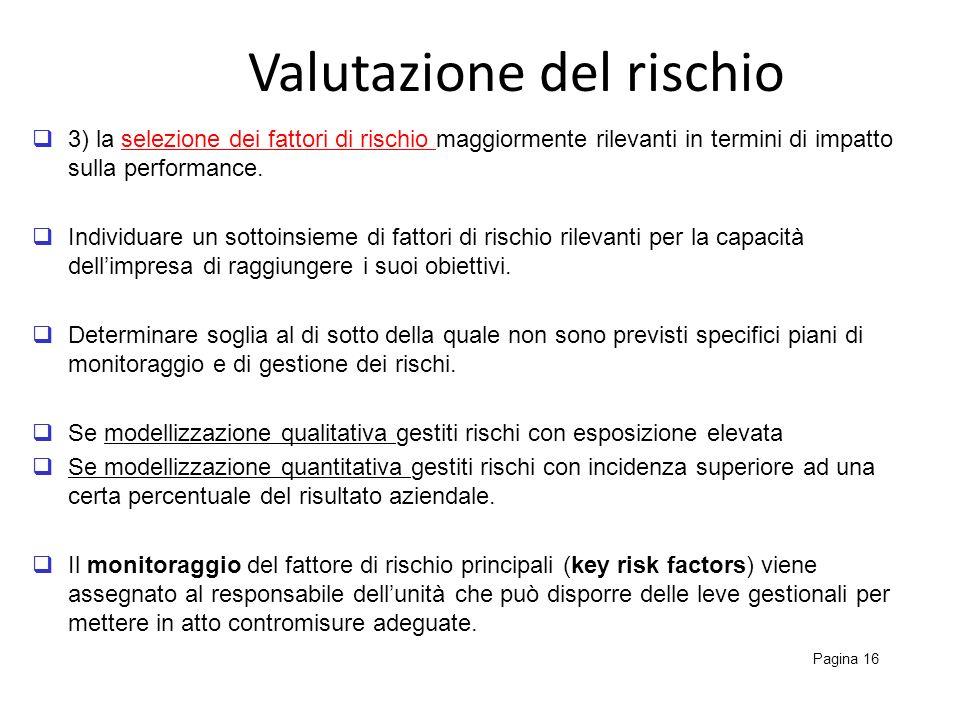 Valutazione del rischio Pagina 16 3) la selezione dei fattori di rischio maggiormente rilevanti in termini di impatto sulla performance. Individuare u