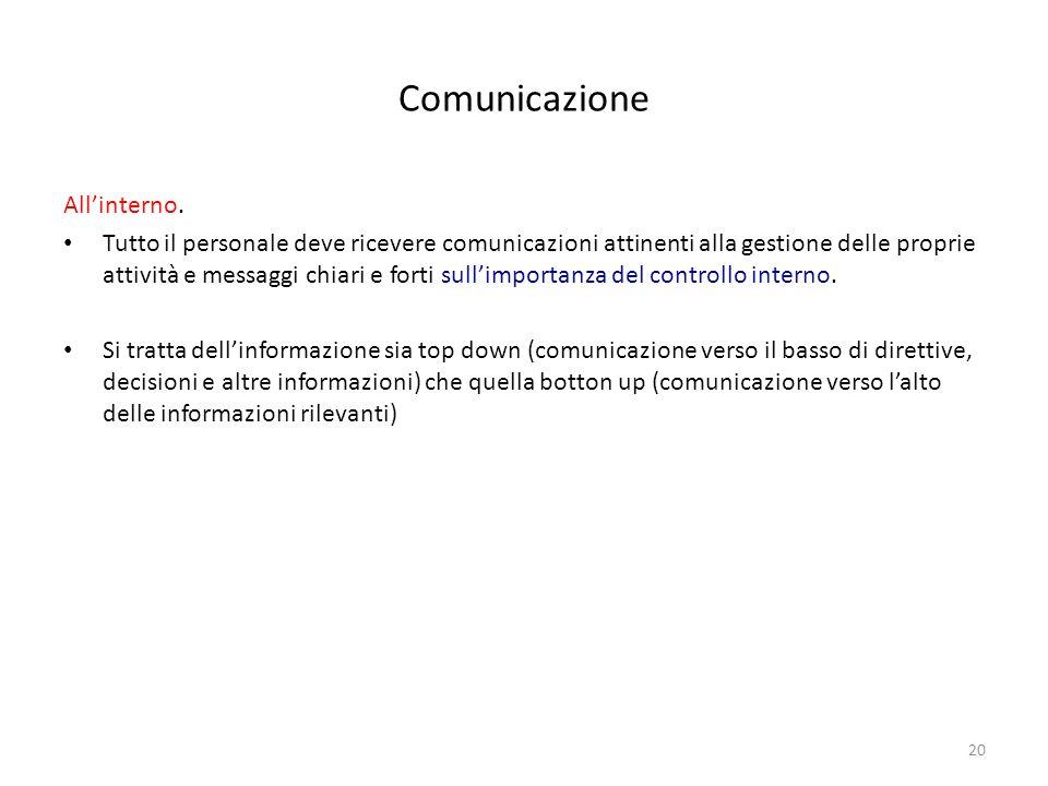 20 Comunicazione Allinterno. Tutto il personale deve ricevere comunicazioni attinenti alla gestione delle proprie attività e messaggi chiari e forti s