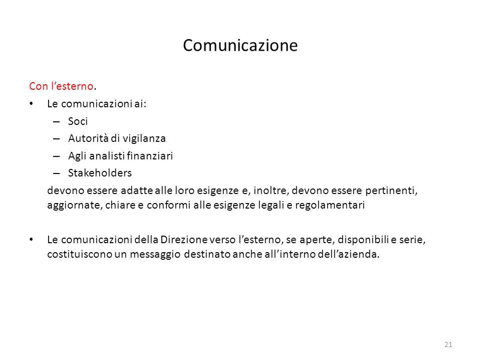 21 Comunicazione Con lesterno. Le comunicazioni ai: – Soci – Autorità di vigilanza – Agli analisti finanziari – Stakeholders devono essere adatte alle