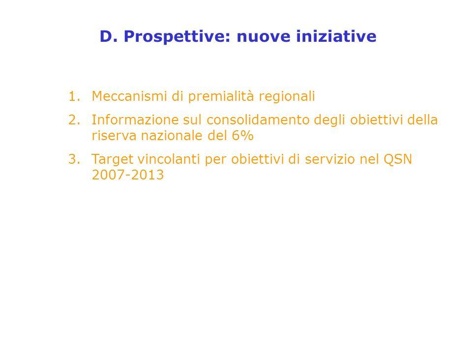1.Meccanismi di premialità regionali 2.Informazione sul consolidamento degli obiettivi della riserva nazionale del 6% 3.Target vincolanti per obiettivi di servizio nel QSN 2007-2013 D.