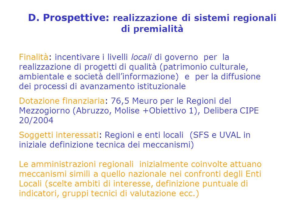 D. Prospettive: realizzazione di sistemi regionali di premialità Finalità: incentivare i livelli locali di governo per la realizzazione di progetti di