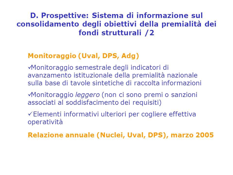 D. Prospettive: Sistema di informazione sul consolidamento degli obiettivi della premialità dei fondi strutturali /2 Monitoraggio (Uval, DPS, Adg) Mon