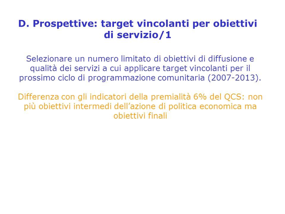 D. Prospettive: target vincolanti per obiettivi di servizio/1 Selezionare un numero limitato di obiettivi di diffusione e qualità dei servizi a cui ap