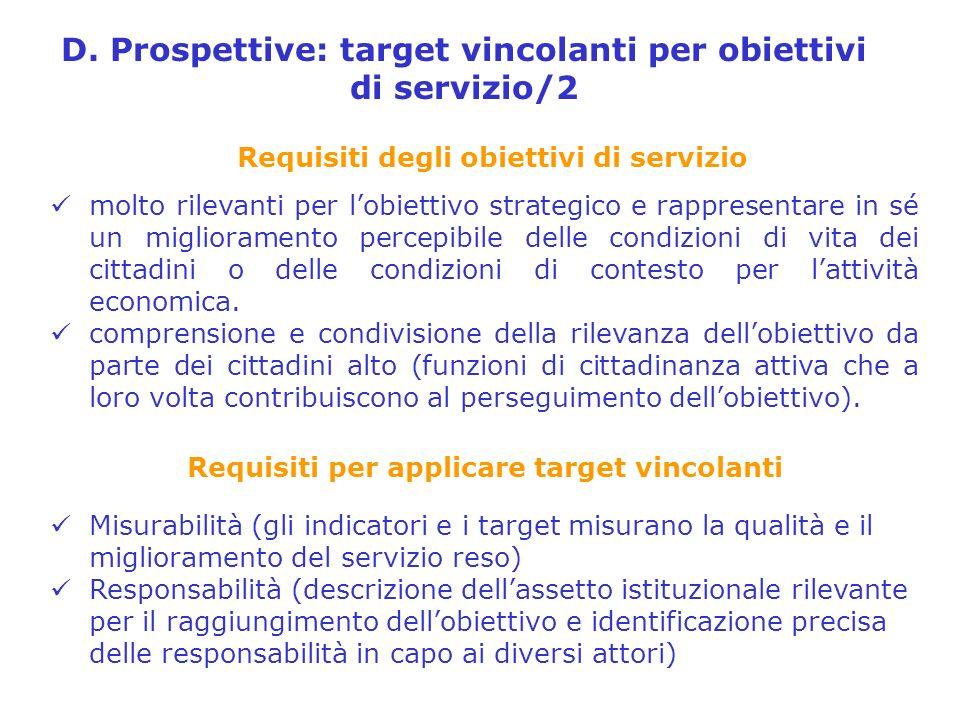D. Prospettive: target vincolanti per obiettivi di servizio/2 molto rilevanti per lobiettivo strategico e rappresentare in sé un miglioramento percepi