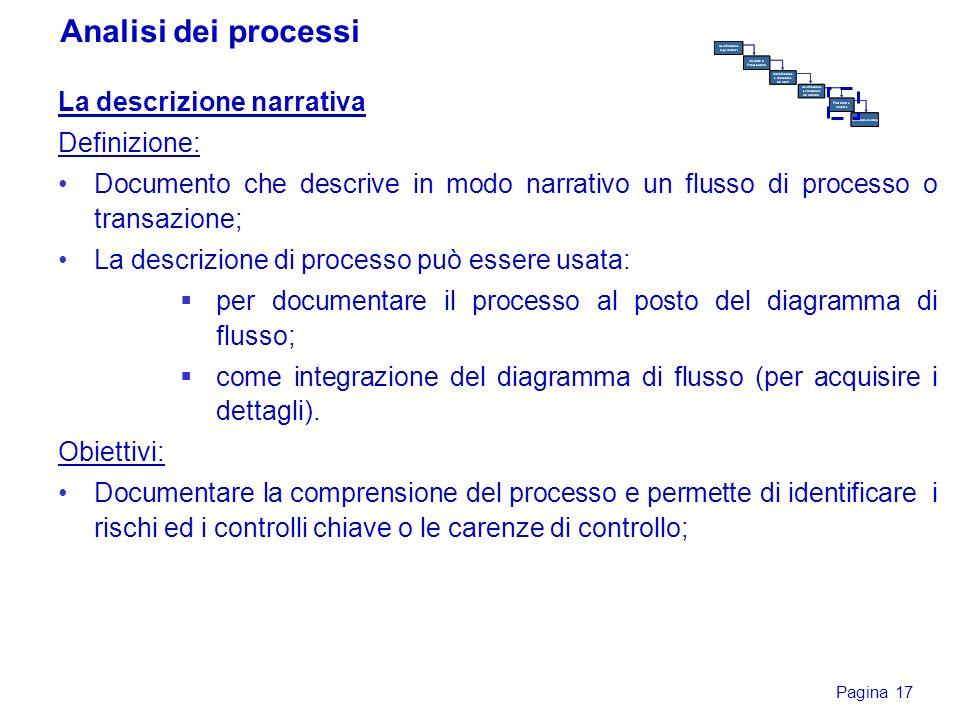 Pagina 17 La descrizione narrativa Definizione: Documento che descrive in modo narrativo un flusso di processo o transazione; La descrizione di proces
