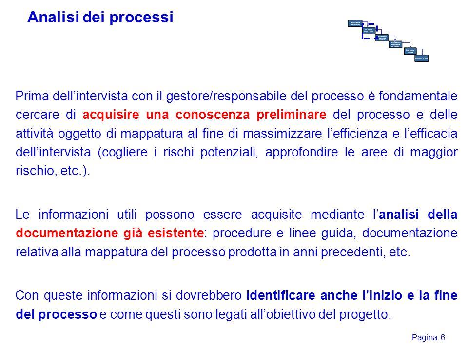 Pagina 6 Prima dellintervista con il gestore/responsabile del processo è fondamentale cercare di acquisire una conoscenza preliminare del processo e d