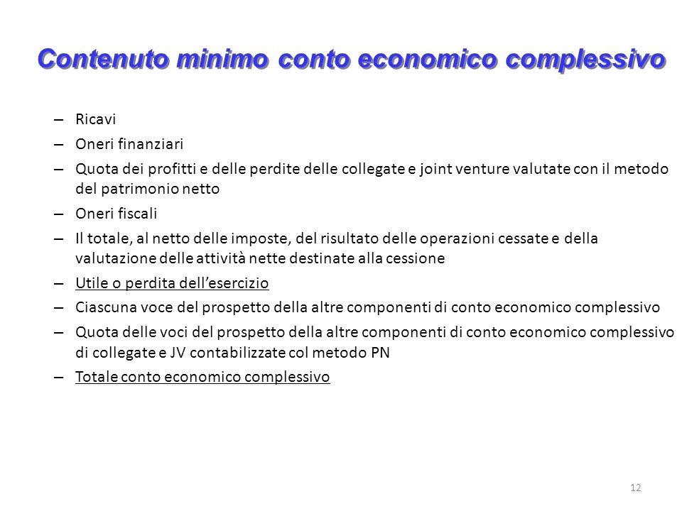 12 Contenuto minimo conto economico complessivo – Ricavi – Oneri finanziari – Quota dei profitti e delle perdite delle collegate e joint venture valut